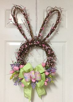 Grapevine Berry Rabbit Head Wreath, Bunny Easter Spring Wreath, Easter Eggs Ribbon, Door Hanger, Housewares Easter Decor, Home Decoration