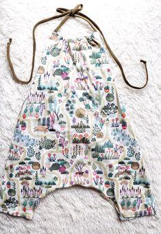 Handmade Cactus Garden Print Baby Toddler Romper | LittleWildSprouts on Etsy