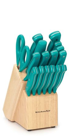 Love the teal knife set from KitchenAid®!  Add some pizzazz to your preparation.