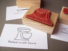 Baked with Love Stamp - Stand Up Mixer, Whisk, or Rolling Pin - Great for Stamping Baked Gifts and Goods