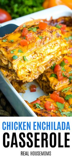 Easy Chicken Enchilada Casserole is packed with layers of tasty ingredients. Tre… Easy Chicken Enchilada Casserole is packed with layers of tasty ingredients. Treat your family to this delicious meal & it'll quickly become a fan favorite! Sauce Enchilada, Easy Chicken Enchilada Casserole, Recipes With Enchilada Sauce, Easy Casserole Recipes, Casserole Dishes, Enchilada Ingredients, Potato Casserole, Baked Chicken Enchiladas, Chicken Taco Bake