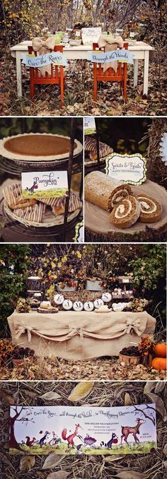 """For Thanksgiving 2013, when the niece and nephew go """"over the river and through the woods (literally) to Grandmother's house we go-for thanksgiving! They'll love it! Loralee Lewis Through the Woods Thanksgiving Collection 1--fun fall party decorations"""