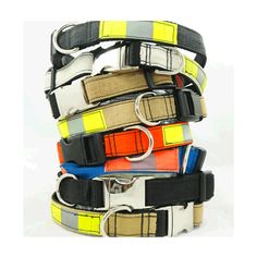 Outfit your dog with this hand-crafted recycled dog collar made from black firefighter turnout gear. Each collar is unique and carries with it a story of bravery and sacrifice. Let your dog wear this collar with pride! Fire Hose Projects, Fire Hose Crafts, Firefighter Crafts, Firefighter Paramedic, Recycling, Nylons, Hard Hats, Dog Wear, Upcycle