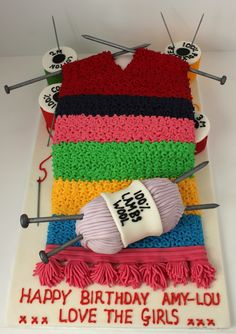 A knitting birthday cake!Follow me on Facebook...Pauls Creative Cakes or www.paulscreativecakes.co.uk