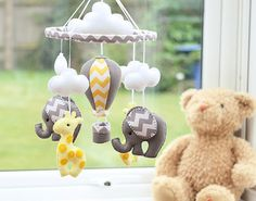 Nursery Mobile - Giraffe Elephant Mobile - Baby Mobile - Yellow Grey Mobile - Hot Air Balloon - MADE TO ORDER