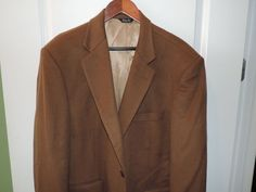 Haspel Designer Mens 100% Cashmere 3 Button Brown Blazer SZ 44R Quick Shipping #Haspel #TwoButton