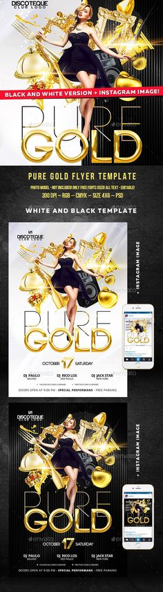 Pure Gold Party Flyer - Black and White Templates PSD#design Download: http://graphicriver.net/item/pure-gold-party-flyer-black-and-white-ver/12787760?ref=ksioks