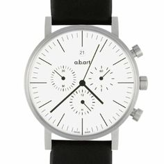 a.b.art Men's Quartz Watch with White Dial Chronograph Display and Black Leather Strap