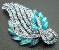 Vintage Rhinestone Brooch Pin Aqua Blue Designer Leaf Design Silver Metal BIG 3 VG via Etsy