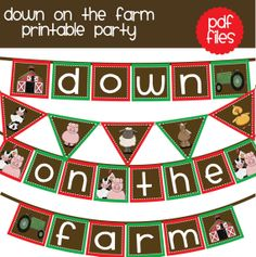 Barn farm birthday party banner DIY  printable