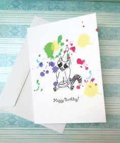 Happy Birthday Card with Raccoon by PaintMonster on Etsy
