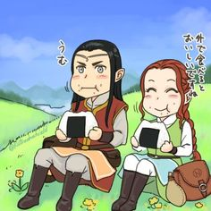 Fëanor and Nerdanel eating onigiri (Fëanor looks like he's taking this way too seriously xD)