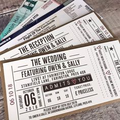 **This listing is for a quantity of or 200 invitations. Please note however, that there is a minimum order quantity of 40 invitations** Ticket Inspired Wedding Party Invites, Wedding Cards, Party Invitations, Our Wedding, Wedding Venues, Wedding Stage, Wedding Photoshoot, Wedding Gifts, Dream Wedding