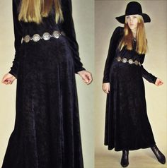 Vintage 70s 80s Crushed VELVET Black Magic GOTH Grunge Witch Steampunk Hipster Evening Gown Maxi Dress M on Etsy, $48.94