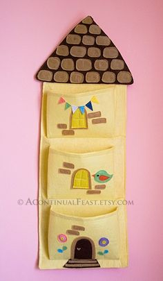 Felt house hanging pocket,organizer,yellow and brown.