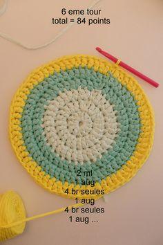 Tutoriel pour un tapis rond crocheté en brides. Pouf En Crochet, Crochet Carpet, Crochet Diy, Crochet Bebe, Crochet Braids, Crochet Gifts, Irish Crochet, Hand Knitting, Knitting Patterns