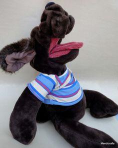 """Senitt Wrinkles Dog 27"""" Puppet Plush Stuffed Toy Original Designer Canada"""