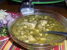 Chile Verde Pork Pozole - Hispanic Kitchen. If you prefer chicken pozole, just substitute a whole 3 to 4 pound chicken for the pork butt. Chicken cooks in half the time as pork.