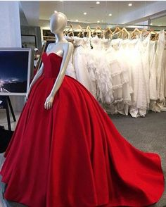 Red ball gown, sweet heart prom dress, simple charming prom dress, evening gown, long prom dress with small train, satin strapless prom dress, 15207