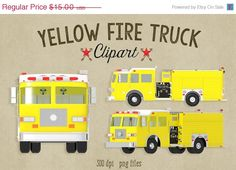 70% OFF SALE Yellow Fire Truck Clipart 300 by ScubamouseStudiosJr