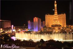Las Vegas, Nevada - in front - Fountains of the Bellagio Hotel and Casino - in the back - Eiffel Tower