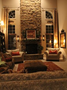 Two Story Fireplace Design, Pictures, Remodel, Decor and Ideas Home Living Room, Living Room Designs, Living Room Decor, Living Spaces, Tuscan Living Rooms, Dining Room, Style At Home, Traditional Family Rooms, Traditional Windows