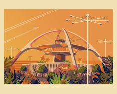A very stylised version of the Theme Building in LAX. Designed and built in Los Angeles. Google Architecture, Miyazaki Spirited Away, Grave Of The Fireflies, Palm Springs Houses, House Illustration, Digital Illustration, The Royal Tenenbaums, Art Thou, Howls Moving Castle