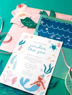 Mermaid Theme Birthday, Little Mermaid Birthday, Girl Birthday, Invitation Envelopes, Printable Invitations, Mermaid Party Invitations, Mother's Day Banner, 6th Birthday Parties, Envelope Liners