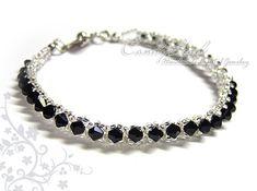 "Swarovski Crystal Bracelet Black and Silver Single by candybead, $10.00. (The ""Tennis Bracelet"".)"