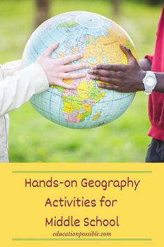 There are so many wonderful middle school geography activities you can do with your tweens to make the subject interactive and interesting for them. Use family vacations to teach them how to read a map, add tools like scavenger hunts to your lesson plans to show them how to use an atlas, and make projects like volcanoes and caves so they will learn about the earth. Help kids understand the world they live in through fun hands-on geography activities like those listed here. Hands On Geography, Middle School Geography, World Geography, Geography Lesson Plans, Geography Activities, Hands On Activities, History Classroom, Teaching History, Fun Learning