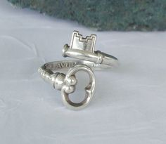 Vintage anello in argento Sterling Skeleton Key di dmfsparkles