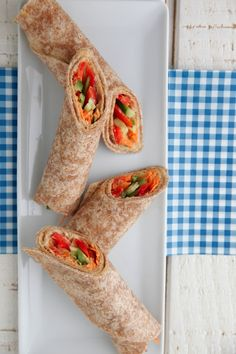 These look great for the kid's lunch box! Hummus Veggie Wraps from Weelicious.