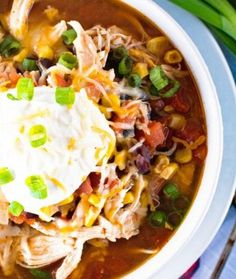 {Instant Pot} Pressure Cooker Chicken Taco Soup ~Quick, Easy Homemade Taco Soup with Shredded Chicken! Warm Up with a Big Bowl of this Taco Soup Made in Your Pressure Cooker!
