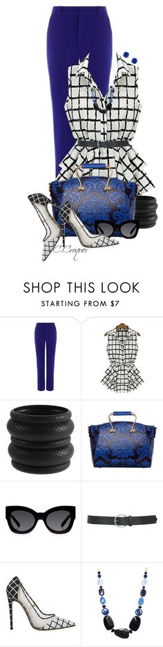"""""""Royal Blue Pants"""" by ccroquer ❤ liked on Polyvore featuring Roland Mouret, ASOS, Karen Walker, M&Co and Kate Spade"""