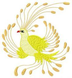 Golden bird machine embroidery design. Machine embroidery design. www.embroideres.com