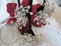 Fabulous Signed Rhinestone Brooch Set by VintagObsessions on Etsy, $48.00