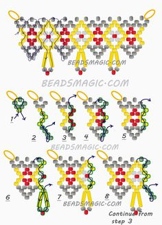 Free pattern for beaded necklace Ivetta U need seed beads 11/0 bugles