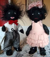 Needle felted Golliwogs made by my mother...love them!  She made their clothes, as well...