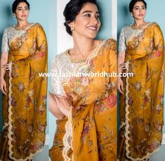 Regina Cassandra in WeaveinIndia saree! yellow floral print for party movie promotion event Tipsyfly ear rings gold with white blouse Regina Cassandra, Blouse Designs, Sarees, Floral Prints, Blouses, Party, Fashion, Moda, Floral Patterns