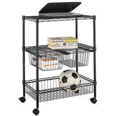 Stor 3-Shelf Basket Rolling Wire Utility Cart Shelving Storage w/ Wheels  #Stor