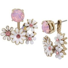 Betsey Johnson Summer Flowers Front Back Earrings (1.995 RUB) ❤ liked on Polyvore featuring jewelry, earrings, betsey johnson jewelry, antique gold earrings, betsey johnson, flower charms and antique gold charms