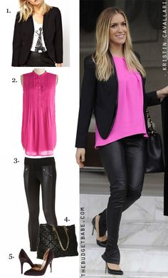 Kristin Cavallari's pink top and leather pants