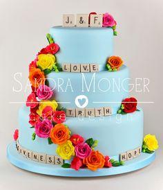Scrabble wedding cake with Kath Kidston colours