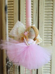 Λαμπάδα πασχαλινή νεράιδα Greek Easter, Palm Sunday, Handmade Candles, Flower Girl Dresses, Wedding Dresses, Party, Macrame, Crafts, Home Decor