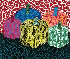 I recently saw the Yayoi Kusama show at the Whitney and loved it. Kusama is a Japanese artist who has worked in a variety of media including performance art, painting, collage and environmental ins… Yayoi Kusama Pumpkin, Arte Elemental, Fall Art Projects, Pumpkin Art, Pumpkin Painting, Large Pumpkin, Ecole Art, Middle School Art, Painted Pumpkins
