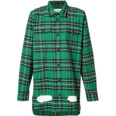 Off-White Green Plaid Shirt ($517) ❤ liked on Polyvore featuring tops, green, over sized shirts, off white tops, off white shirt, tartan top and shirt top
