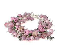 Rose Bracelet  Silver Charm Bracelet  Floral by Lottieoflondon