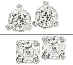 Judith Ripka 2cttw Diamoniqu 100-Facet Round Cut Stud Earrings - love these. I wear mine everyday!