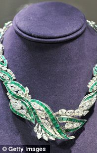 an emerald and diamond necklace by Oscar Heyman and brothers, on display at Christie's Auction House until December 12, 2011; part of the Collection of Elizabeth Taylor exhibit.