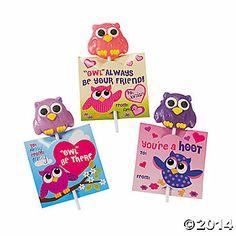 Owl & Friends Suckers on Valentine Card